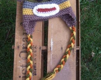 Multi-colored sock monkey hat