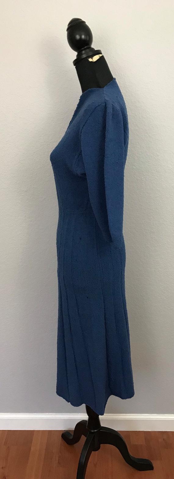 1940s blue knit sweater dress - image 6