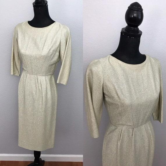 1950s Champagne silver lurex dress by Don Sachs