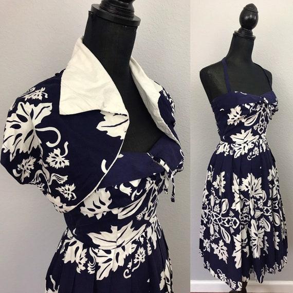 1950s Kamehameha Hawaiian tiki dress