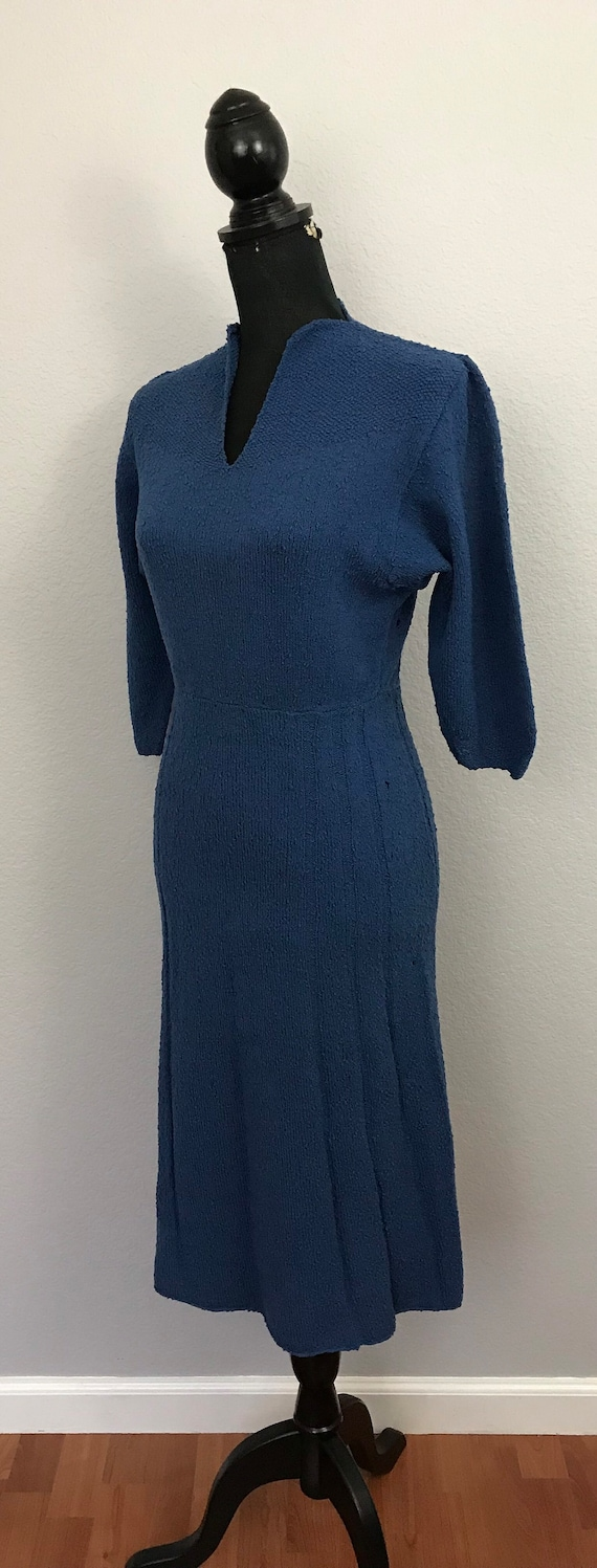 1940s blue knit sweater dress - image 3