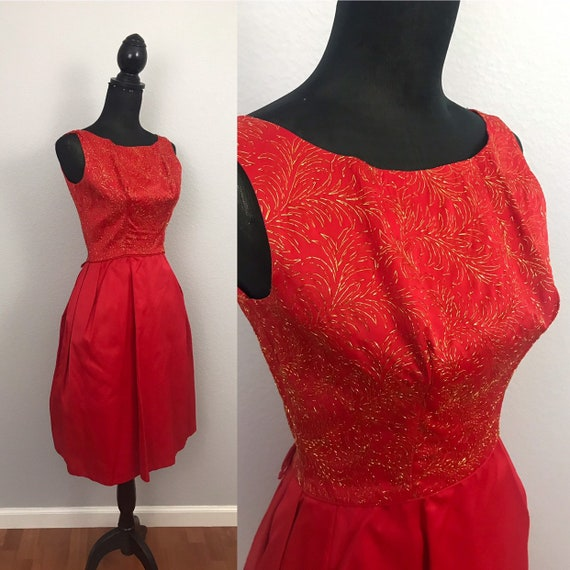 1950s red dress with gold lurex - image 1