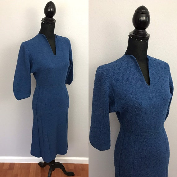 1940s blue knit sweater dress