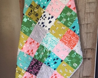 Baby/ Toddler Quilt Cotton + Steel Clover Bright Colors, Beautiful Modern Designs, & Sheep- Ready to Ship!
