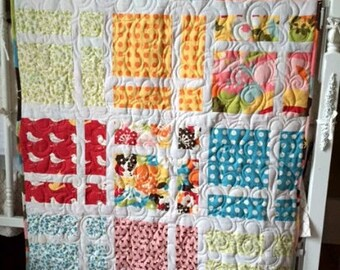 Oh Deer! Baby/ Toddler Quilt featuring Deer, Song Birds, Polka Dots and more in a bright cheery lattice pattern- Ready to Ship!