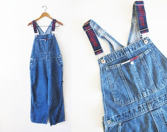 6588a2ee Vintage 90s Tommy Hilfiger Womens Overalls M - Tommy Hilfiger Spell Out  Denim Overalls - 90s Hip Hop Clothing - Baggy Overalls - Tommy Girl