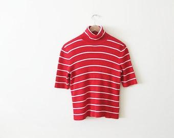 a19fafd7dc1854 Vintage 90s Shirt - Striped Shirt - Striped Turtleneck Shirt - Ribbed  Turtleneck - 90s Ralph Lauren - Red White Striped Shirt - Ribbed Top M