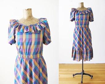 4851d78571 Vintage 70s Dress S - Plaid Ruffle Dress - Ruffle Neck Sundress - 70s Plaid  Sundress - Prairie Cowboy Western Dress - Purple Dress