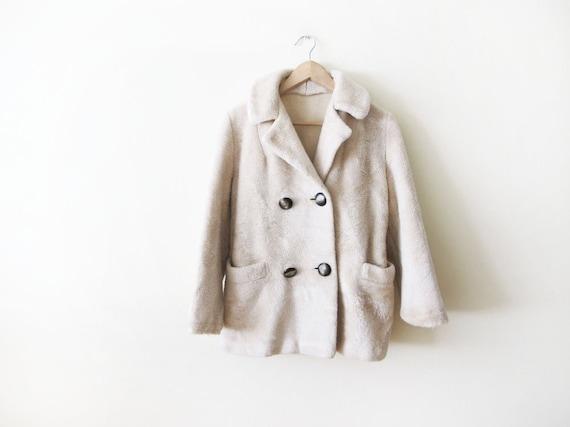 Vintage Teddy Bear Faux Fur Jacket - Cream Beige F