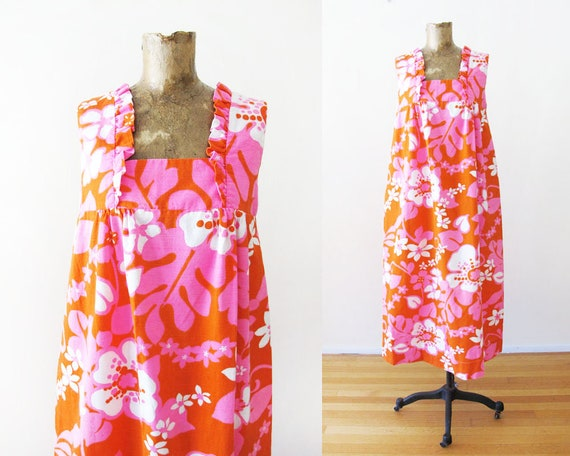 Vintage Barkcloth Dress - 60s Hawaiian Barkcloth … - image 1