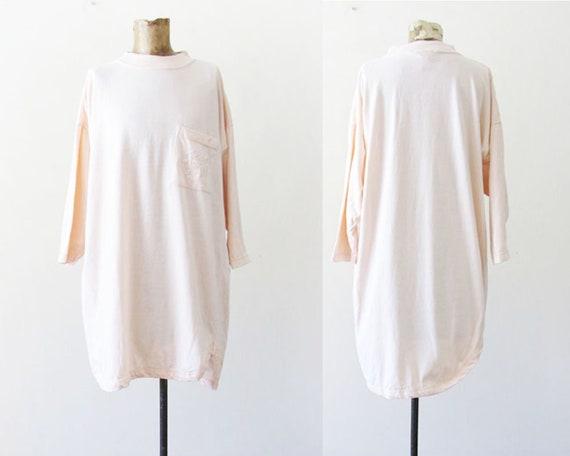 Vintage 90s Baggy Shirt XL Pale Pink Pastel 90s Shirt Oversized 90s Shirt Dress Mock Neck Shirt Baggy Pastel 90s CLothing