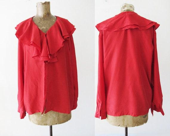 Vintage 90s Blouse S M - Red Silk Shirt - Silk Ruf
