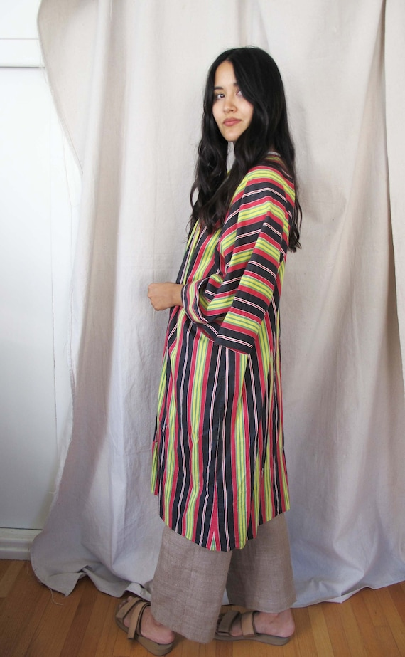 Vintage 1930s Striped Cotton Duster Robe Jacket -