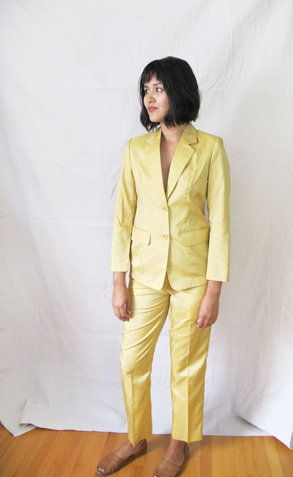 Vintage 90s Womens Suit - Womens Two Piece Suit - Yellow Pant Suit - 1990s Minimalist Clothing - High Waisted Trousers - Pants Suit Small