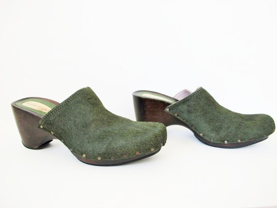 90s Clogs 8 - 90s Slip On Mules Heels - Green Pon… - image 3