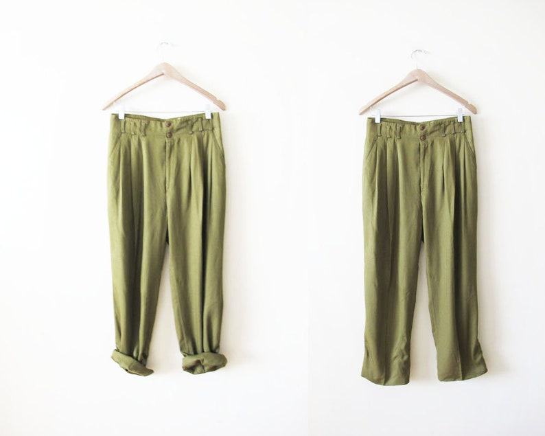 c4ee00920664 Vintage Green Pants 30 High Waisted Trouser Pants Paper | Etsy