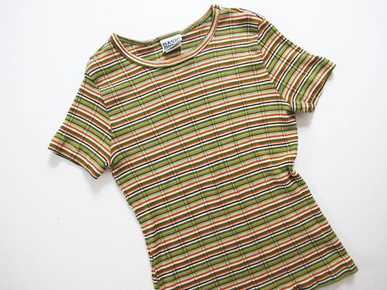 ee34d2acea40cf Vintage 90s shirt 90s Striped Shirt Ribbed Shirt Green