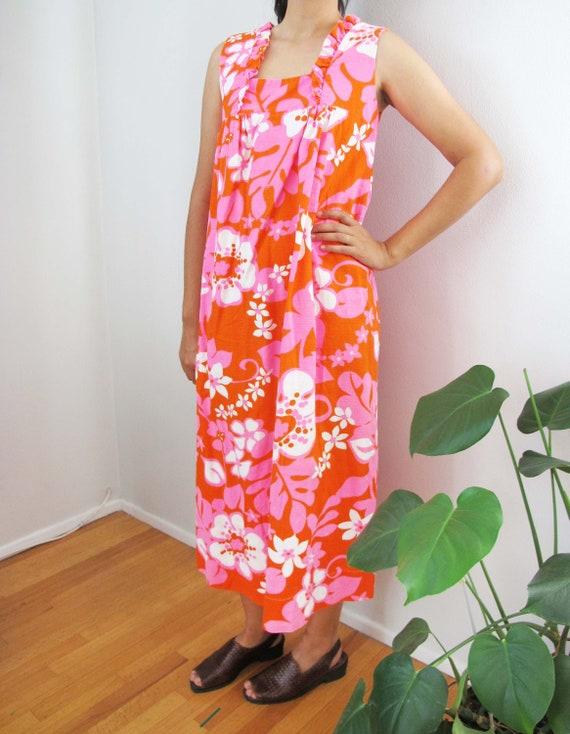Vintage Barkcloth Dress - 60s Hawaiian Barkcloth M