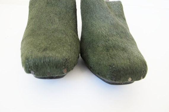 90s Clogs 8 - 90s Slip On Mules Heels - Green Pon… - image 4
