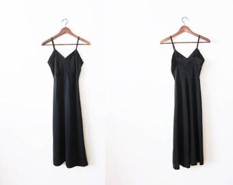 Vintage Slip / Black Slip Dress / 50s Full Slip / Vintage Lingerie / Jean Vernon / Lingerie Dress / Spaghetti Strap Dress / Slip XS S