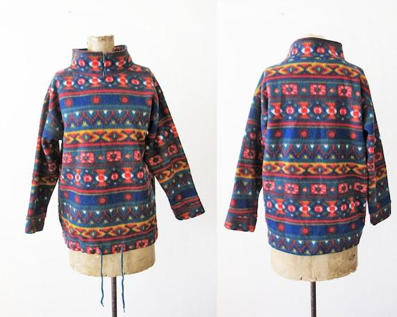 90s Fleece Pullover - Southwest Fleece Sweater - 9