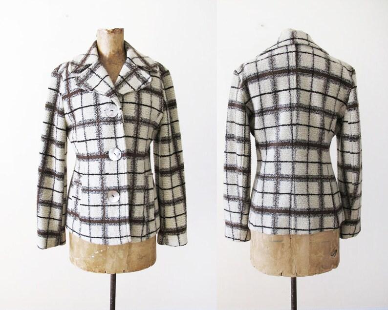 90s Plaid Blazer Sandro Paris Jacket Windowpane Plaid Jacket Plaid Jacket Vintage 90s Jacket S Boucle Jacket 90s 2000 Clothing