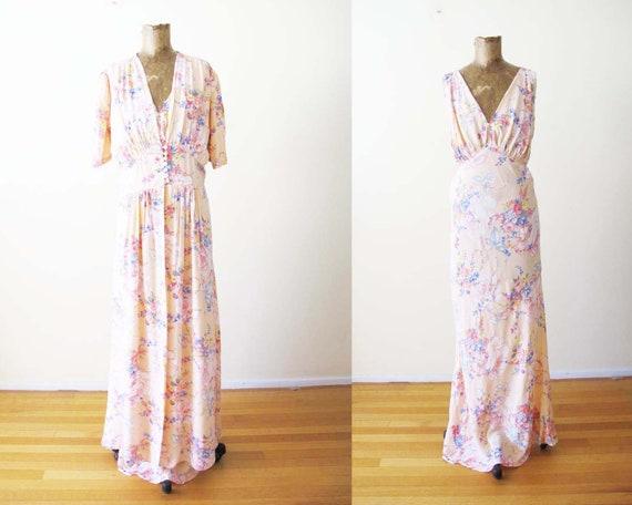 Vintage 1930s Pink Floral Rayon Peignoir Set M - 3