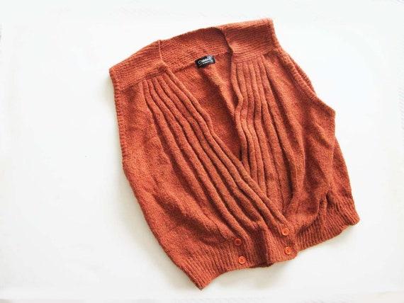 Vintage 70s Knit Vest M L - Womens Rust Orange Ves