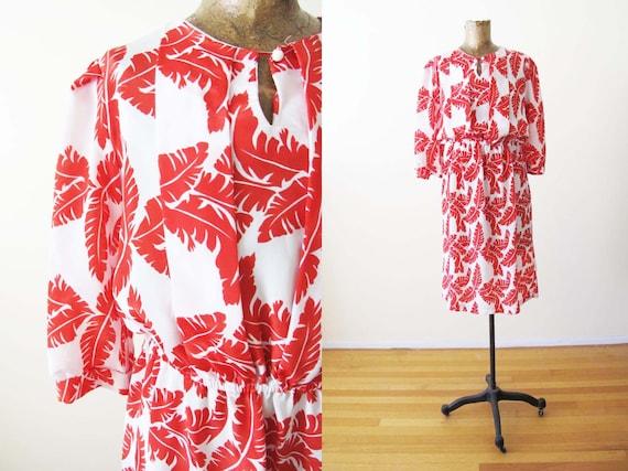 Vintage 80s Palm Leaf Dress S - 80s does 40s Dress