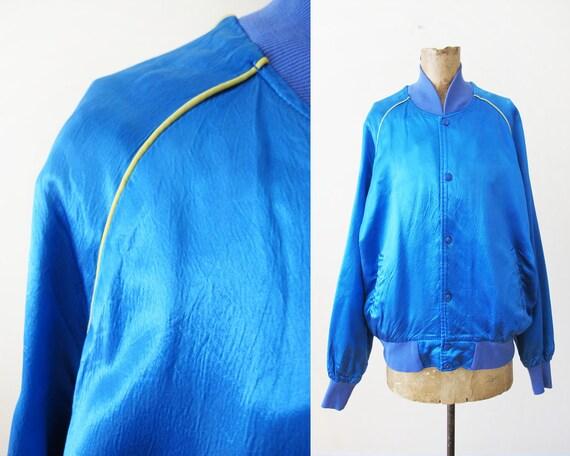 Vintage Blue Satin Jacket - 70s Satin Rayon Bomber