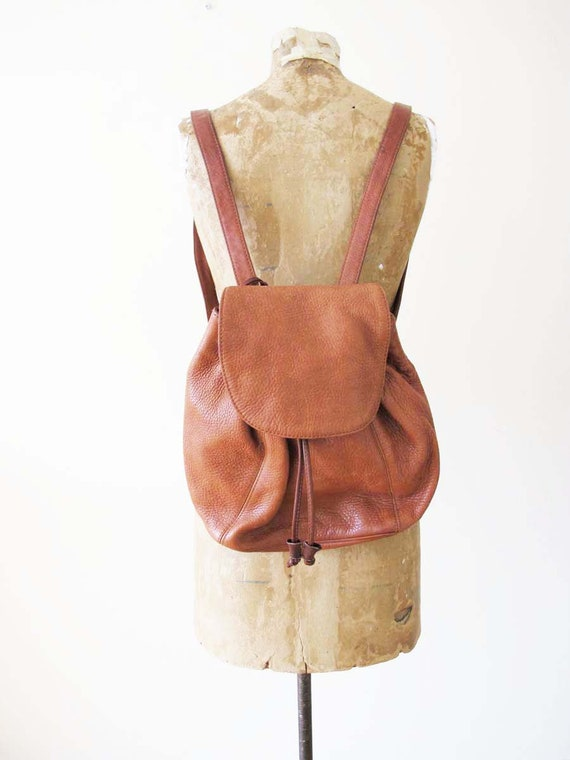 Vintage Leather Mini Backpack - 90s Brown Leather