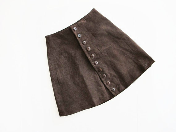 Vintage Brown Suede Leather Mini Skirt XS - 90s A