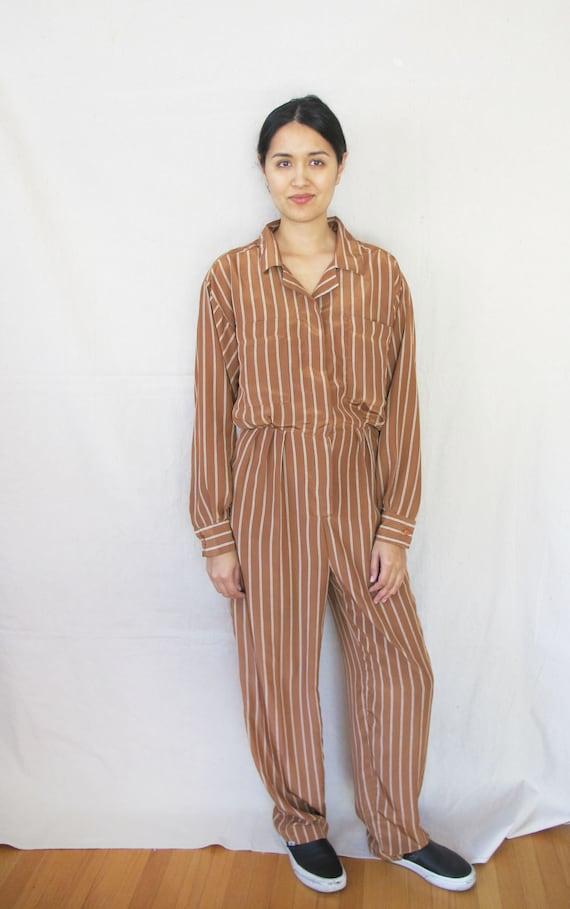 Womens Vintage Jumpsuit - Striped Jumpsuit - Long