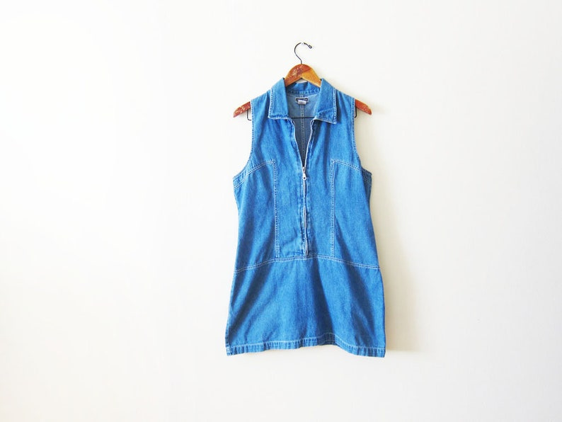 0706a5bc75fa FINAL SALE Vintage 90s Dress Denim Mini Dress Blue Jean