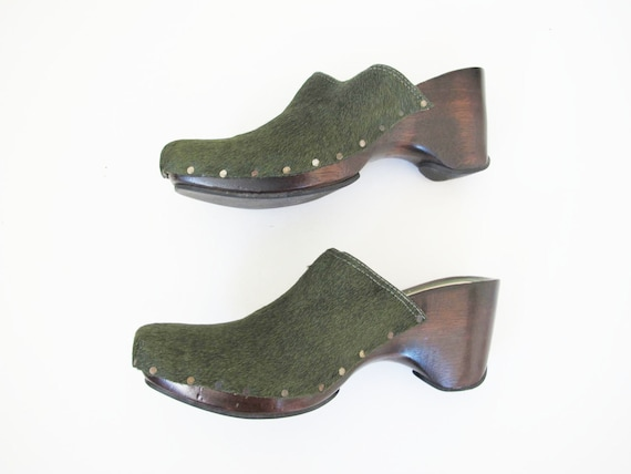 90s Clogs 8 - 90s Slip On Mules Heels - Green Pon… - image 8