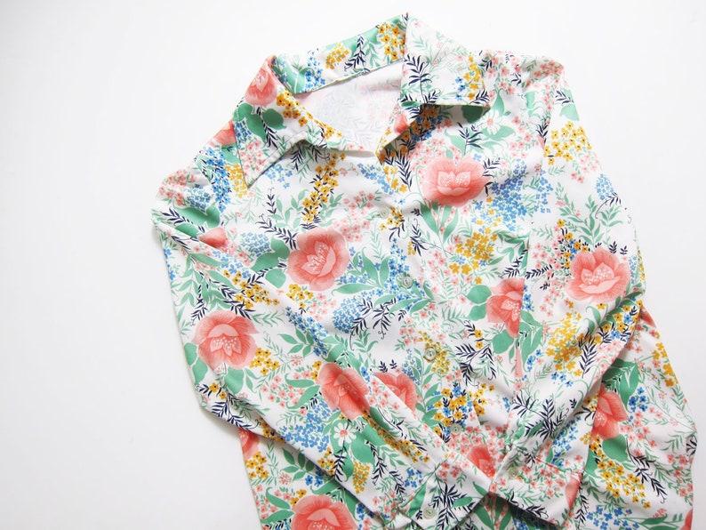 97776e0ff8a Vintage 70s Shirt Vintage Floral Shirt Pastel Floral Print