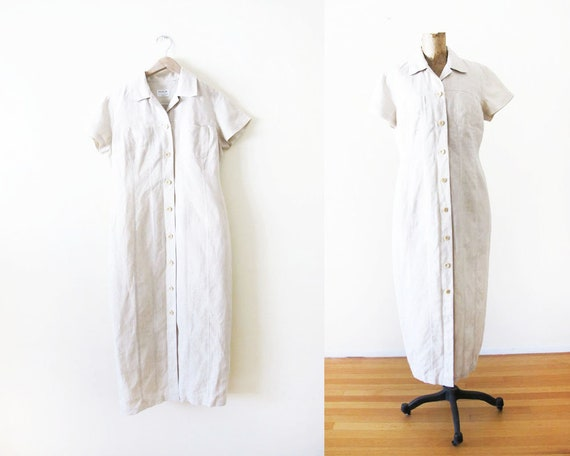 Vintage 90s Linen Dress M - 90s Button Front Maxi