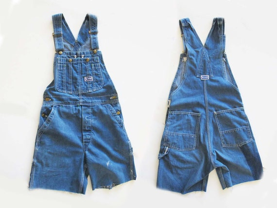 Vintage 70s Big Smith Denim Overall Shorts Small Vintage Blue Jean Overall Cut Off Shorts 1970s Big Smith Shortalls