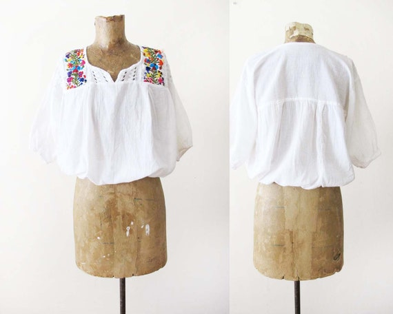Vintage 70s Embroidered Peasant Shirt S  - 1970s B