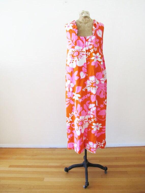Vintage Barkcloth Dress - 60s Hawaiian Barkcloth … - image 9