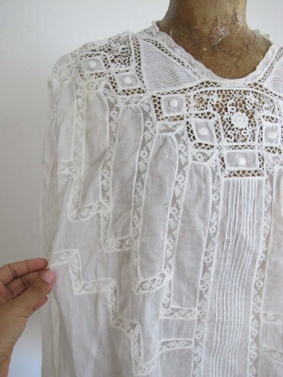 Vintage Edwardian Antique Lace Blouse XS S - Intr… - image 6