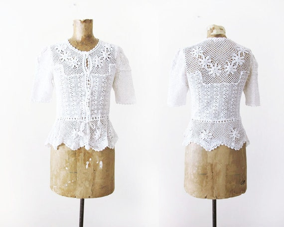 Vintage 70s Blouse Crochet Lace Shirt Off White Knit Etsy
