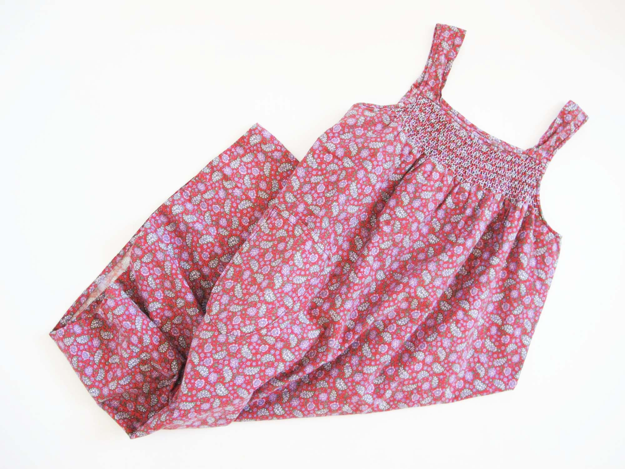 Vintage Aprons, Retro Aprons, Old Fashioned Aprons & Patterns Vintage 70S Mumu House Dress S L - 1970S Pink Red Floral Paisley Print Sundress Relaxed Fit Casual Day Spaghetti Strap Cotton $37.40 AT vintagedancer.com