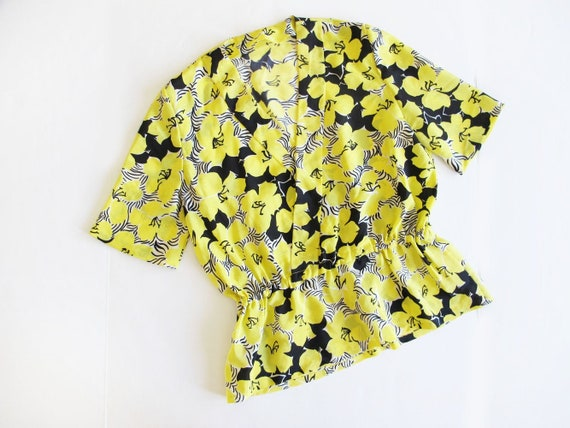 Vintage 40s Silk Blouse S M - 50s Yellow Blouse -