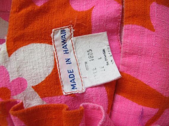 Vintage Barkcloth Dress - 60s Hawaiian Barkcloth … - image 4