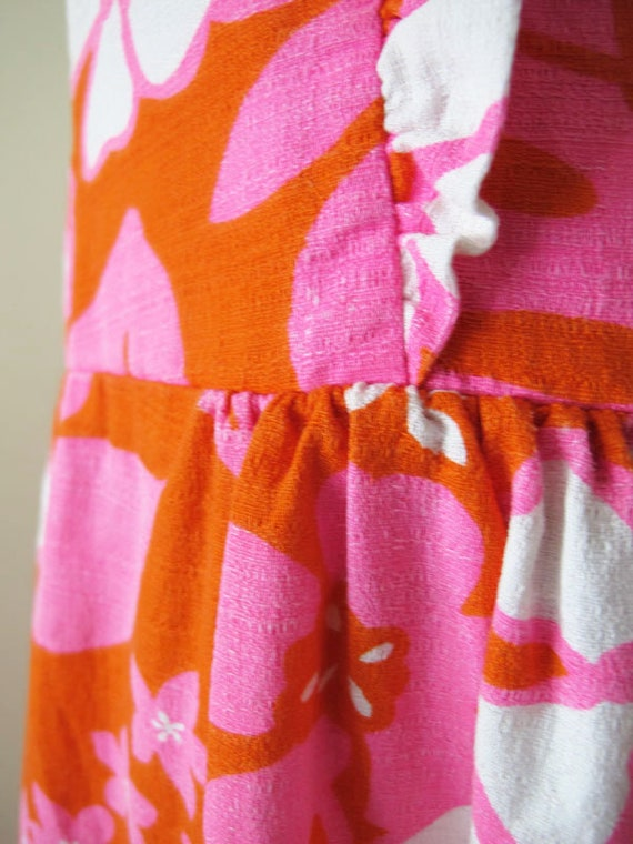 Vintage Barkcloth Dress - 60s Hawaiian Barkcloth … - image 5