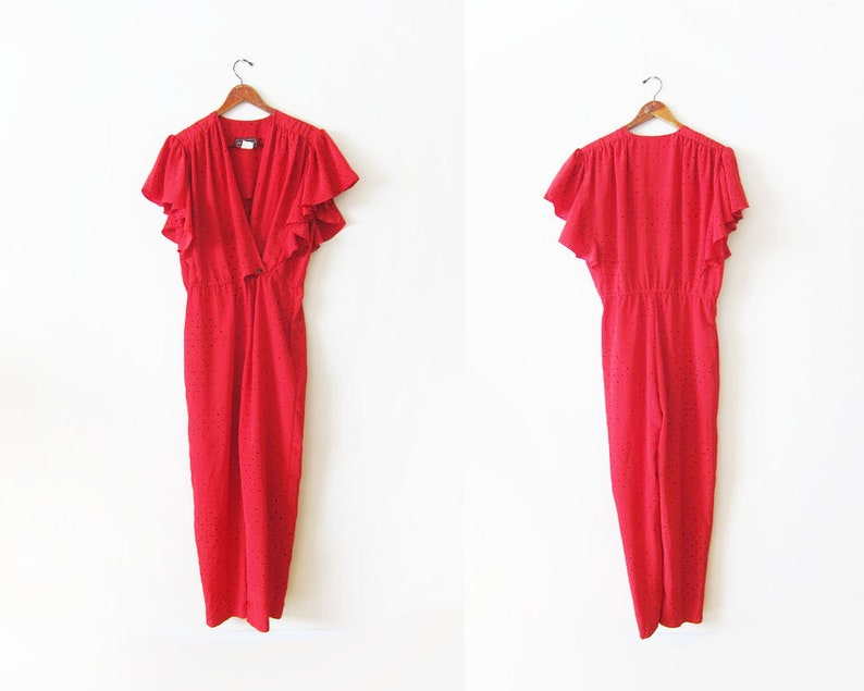 983bfb0cf0 Vintage Womens Jumpsuit Red 80s Jumpsuit 80s Clothing