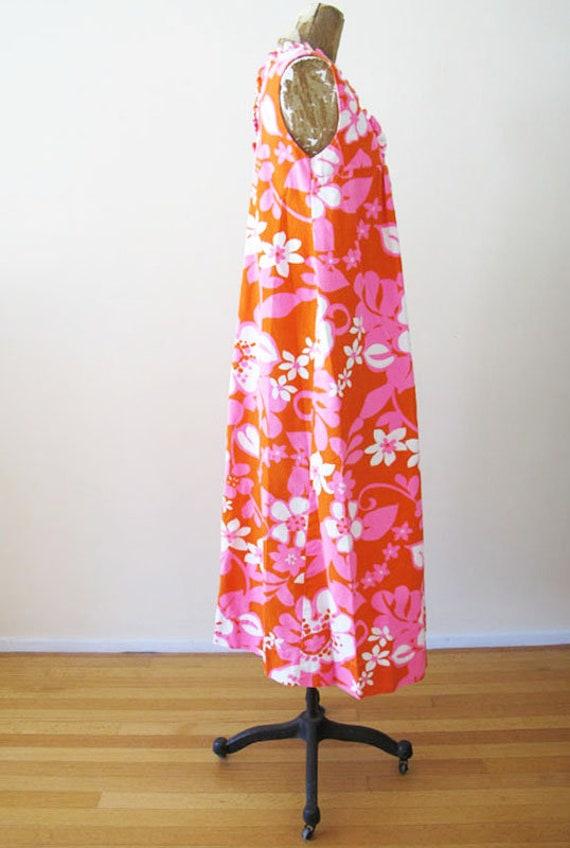 Vintage Barkcloth Dress - 60s Hawaiian Barkcloth … - image 8