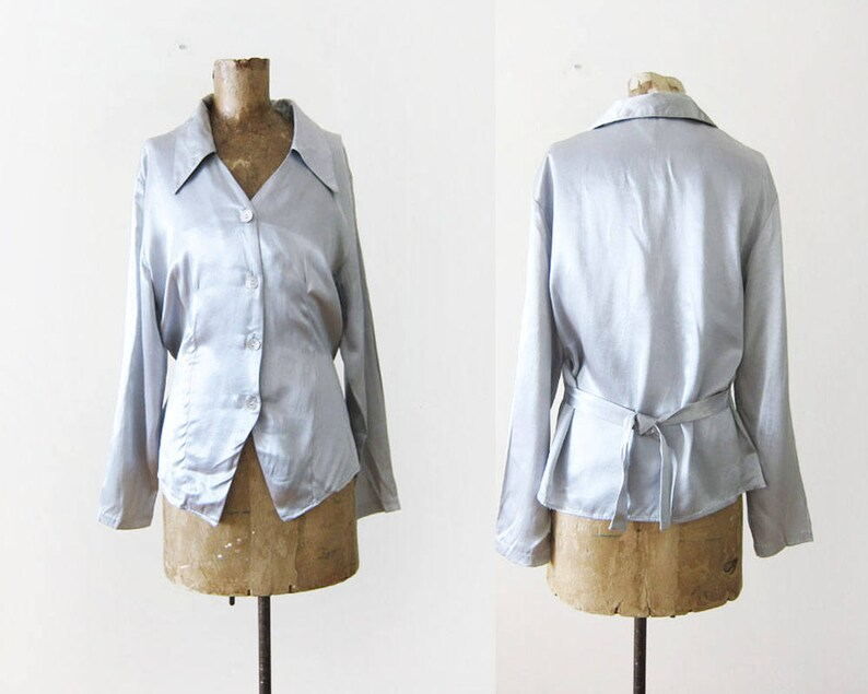812a88701f40a4 FINAL SALE Vintage 90s Shirt Satin Blouse Long Sleeve