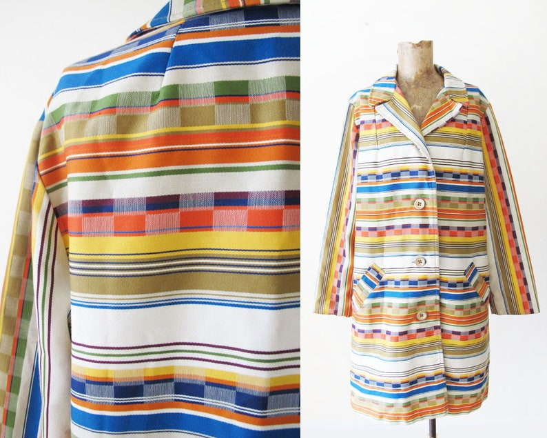 1960s Clothing Colorful Mexican Blanket Pattern Bohemian Coat Vintage 60s Coat S 1960s Rainbow Stripe Checkerboard Womens Coat